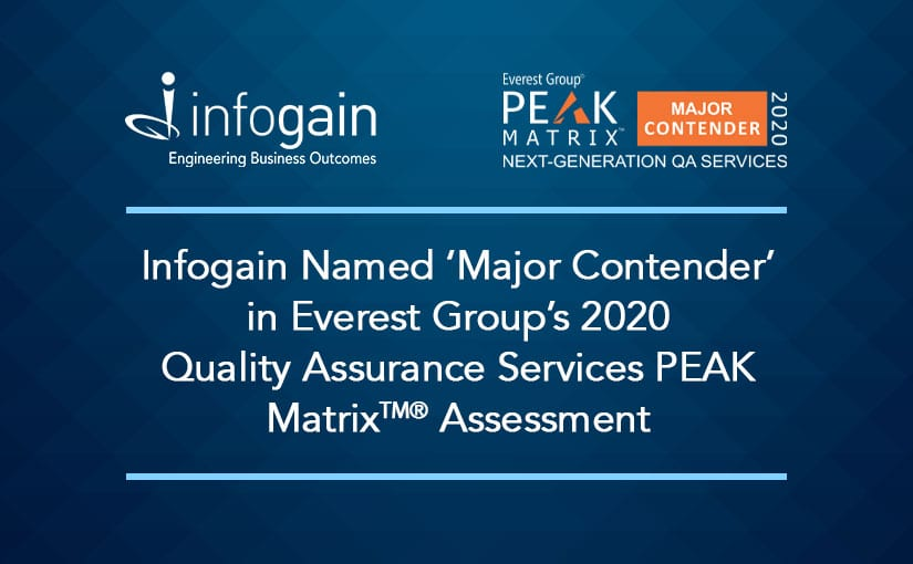 Infogain Named 'Major Contender' in Everest Group's 2020 Quality Assurance Services PEAK Matrix® Assessment