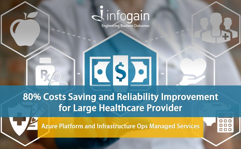 Infogain's Azure Platform & Infrastructure Ops Managed Services Solution for large Health Insurance Provider provides reliability and 80% cost savings.